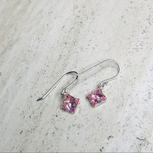 925 Sterling Silver Pink Square Dangle Earrings